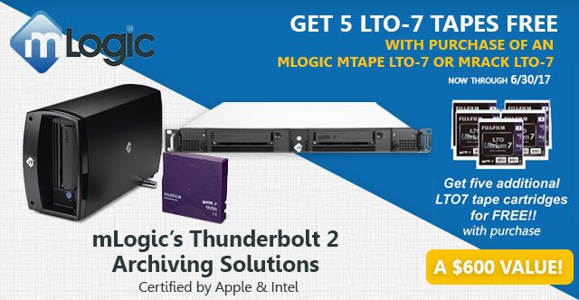 mLogic Thunderbolt 2 Archiving Solutions Special! Get FREE LTO-7 Tapes with Purchase