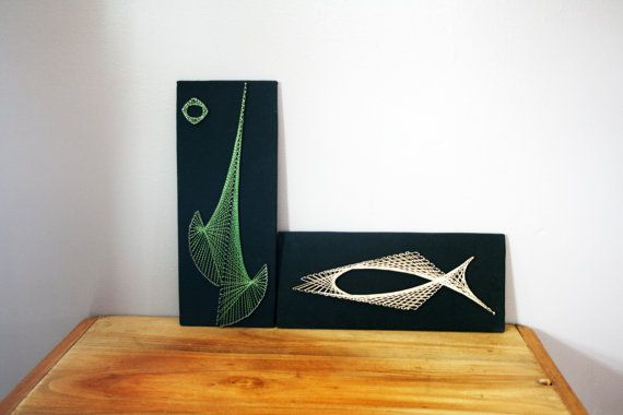 vintage 70s Geometric Abstract Green & Gold String Art Wall Hangings, $28.00
