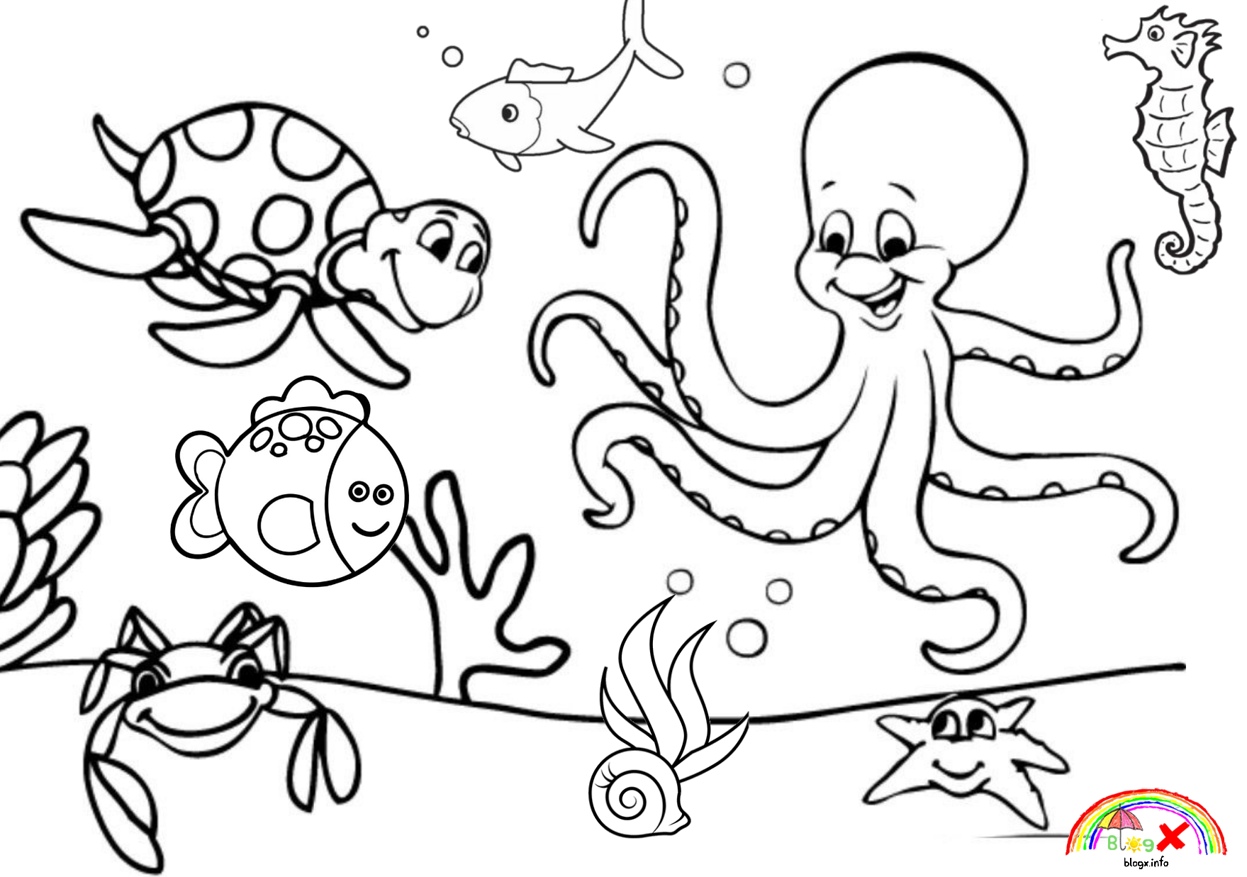 Sea Animals Coloring Worksheet