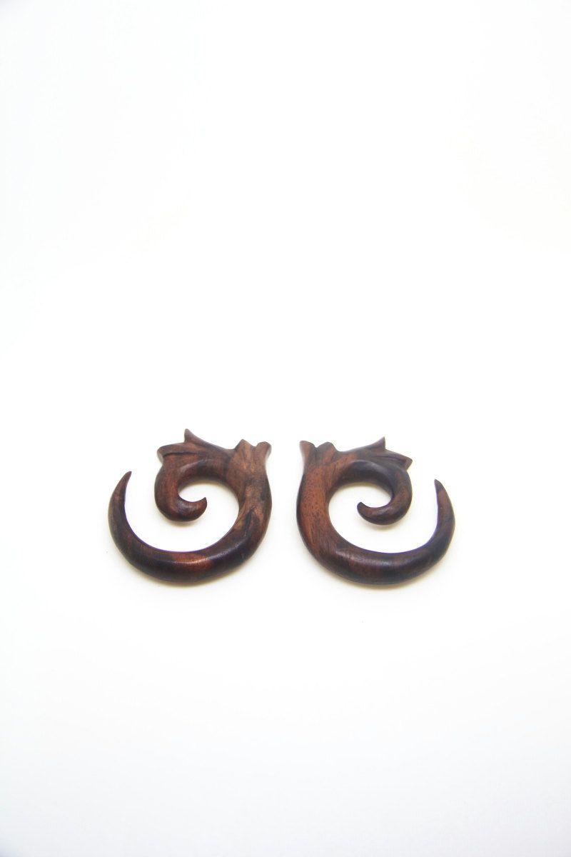 00g 000g Gauges Tribal Spiral Multi Gauge Size Wood Gauges Ear