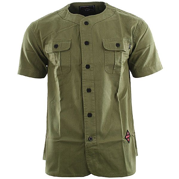 Huf Twill Baseball Shirt - Olive
