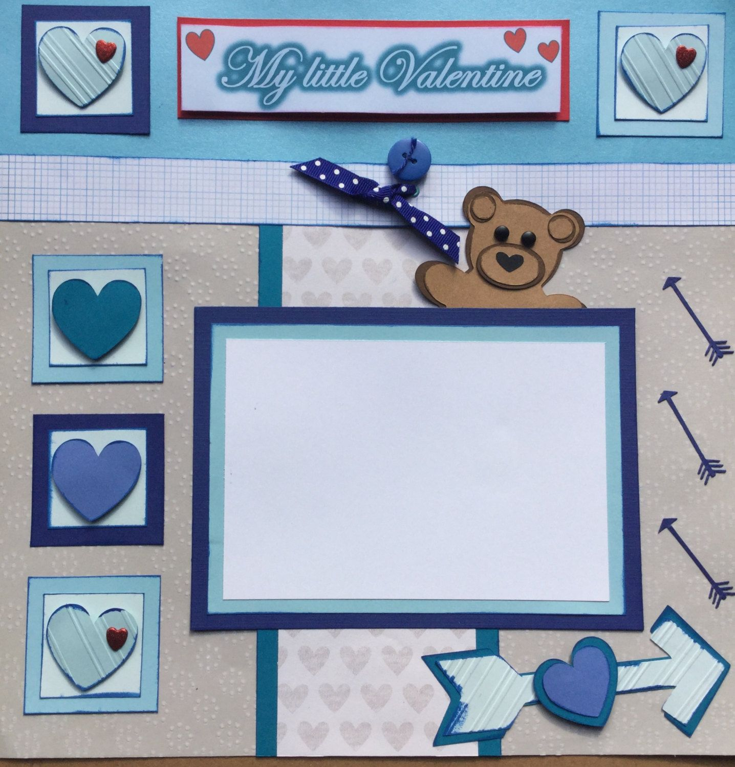 """Two 12""""x12"""" pre-made My First Valentine scrapbook pages for your baby boy by Carolsues on Etsy"""