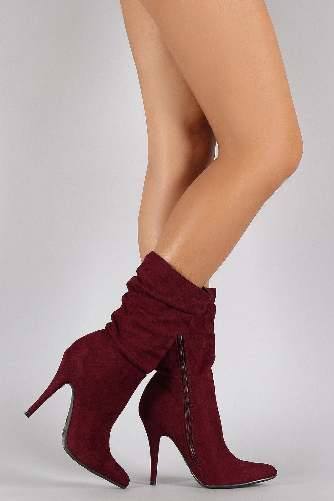 Anne Michelle Suede Slouchy Pointy Toe Mid Calf Boots. High HeelsHigh ...