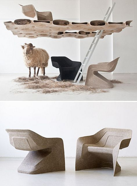 The hemp chair by Werner Aisslinger has been designed for a lightweight manufacturing process stemming from the car industry; the renewable raw materials hemp and kenaf are compressed with a water-based thermoset binder to form an eco-friendly, lightweight and yet strong composite. Unlike with classic reactive resins, this method releases no organic substances such as phenol or formaldehyde during the cross-linking process. The only by-product of the curing procedure is water.