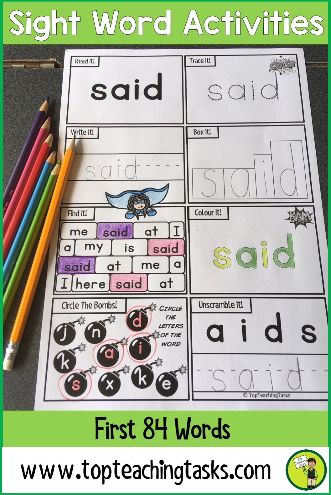Sight Words Activity Sheets | Homework, Pre-school and Superhero