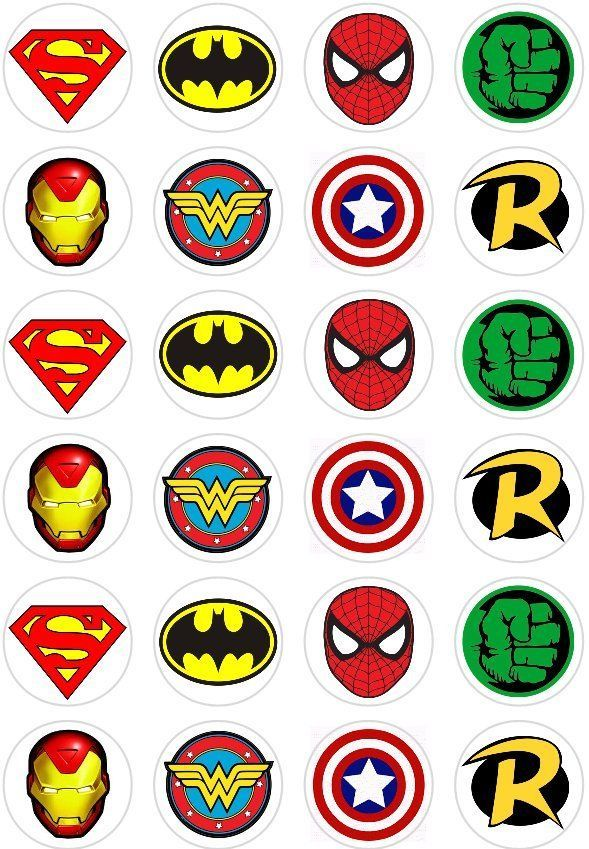 Details About 24 Super Hero Logo Retro Comic Book Cupcake