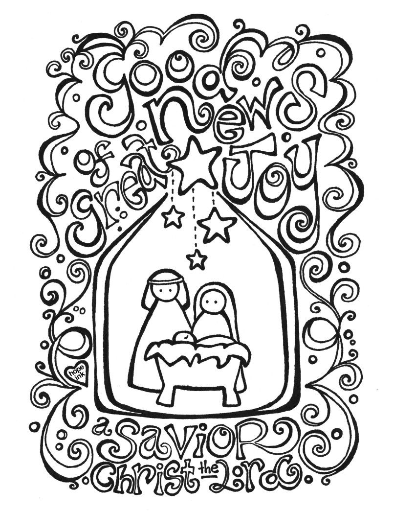 Christmas coloring pages nativity free printable hope ink crafts