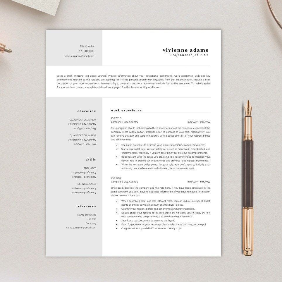 Elegant Resume Template Instant Download Clean And Simple Cv Template Two Column Gray Busin In 2021 Resume Tips Resume Template Simple Cv Template