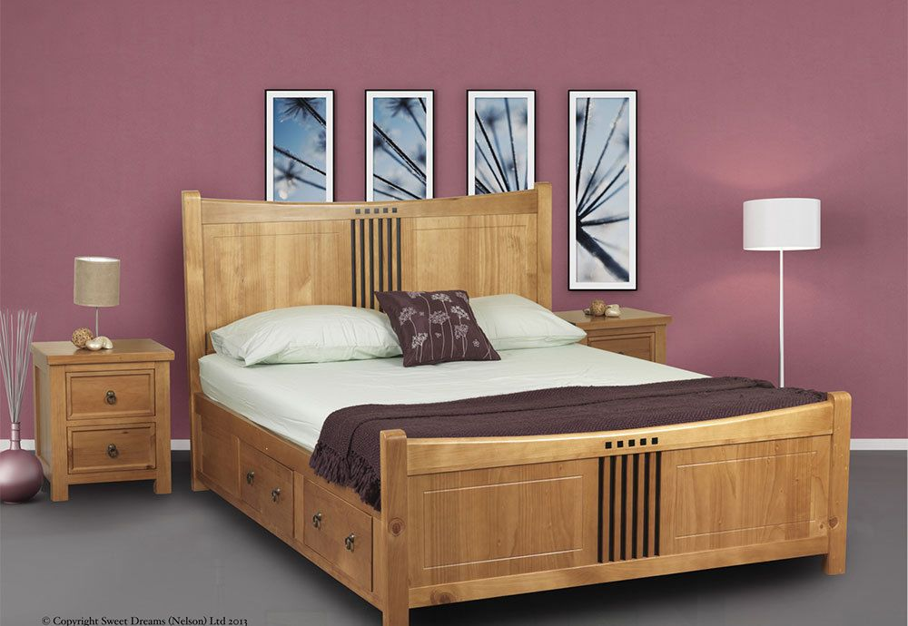 Sweet Dreams Curlew Oak Drawer Bed Frame Solid Wood 180cm Super King Size 6ft Bed Frame With Drawers Bed Frame With Storage Pine Bed Frame