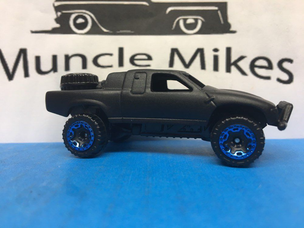 Hot Wheels Toyota Tacoma Off Road Truck 152 Flat Black Blue Wheels