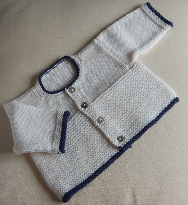 Baby Cardigan newborn - hand knitted in baby merino wool ...