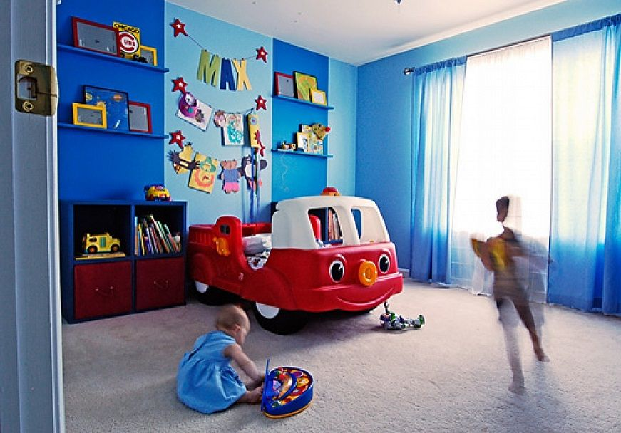 Blue Walls Red Car Bed Boy Room Design Id906 Beautiful Boys Room
