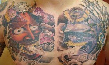 asian chest piece tattoos for men japanese chest tattoos for men pinterest. Black Bedroom Furniture Sets. Home Design Ideas