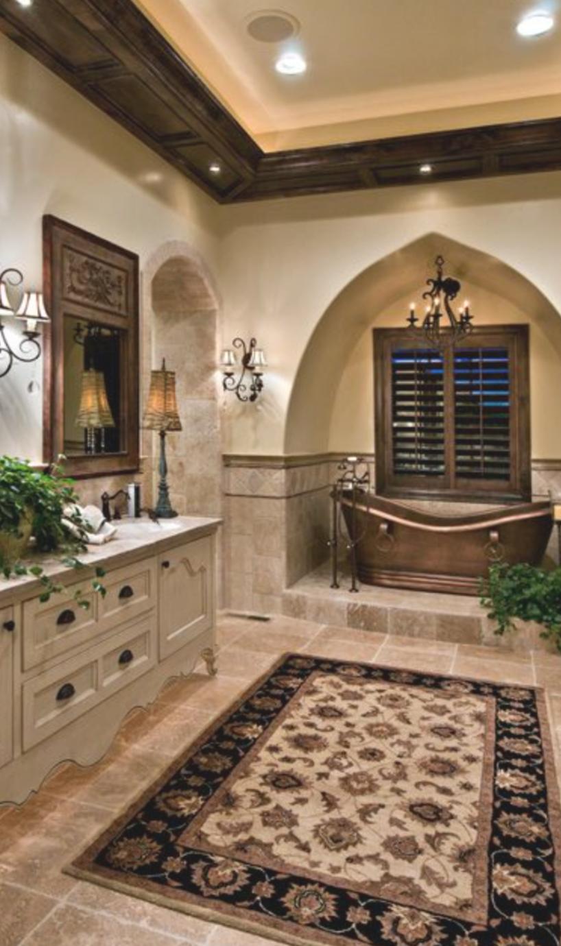 Old World Mediterranean Italian Spanish Tuscan Design Decor Master Bath In 2020 Tuscan Bathroom Spanish Style Bathrooms Mediterranean Decor