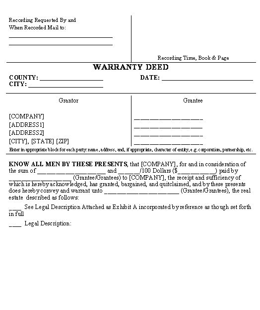 Warranty Deed Form  Business Legal Forms