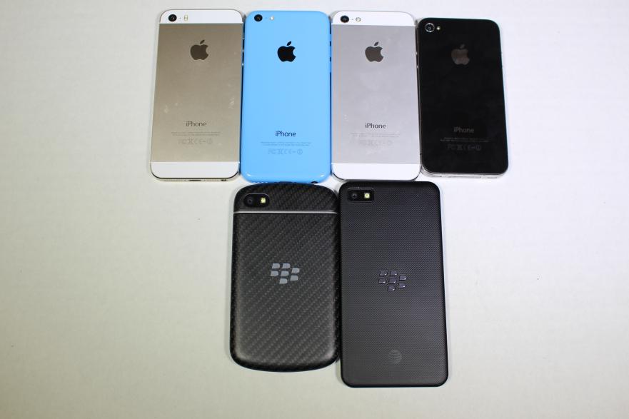 Apple iPhone 5S, 5C, 5, 4S vs Blackberry Q10, Z10