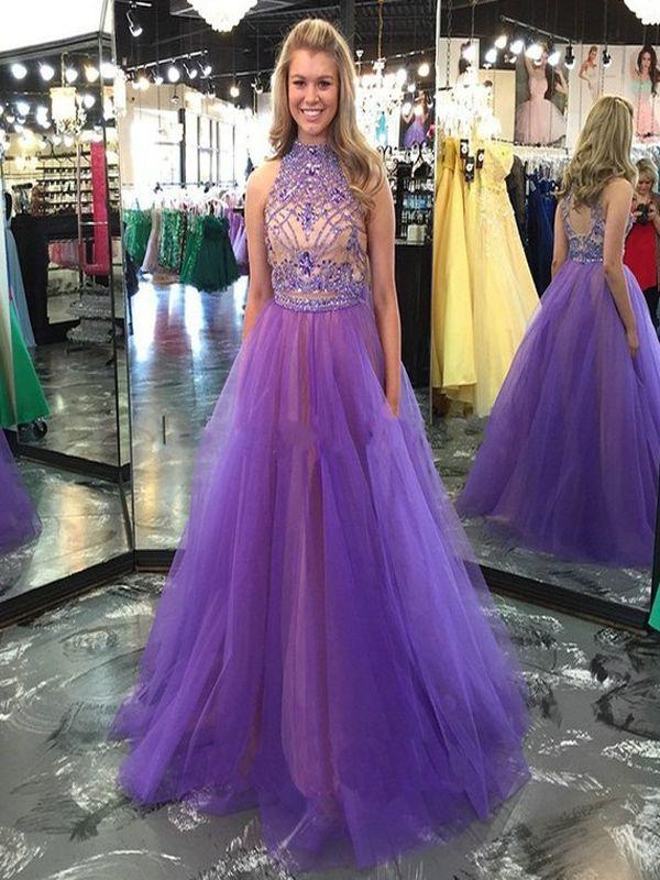 Long Custom prom dress, Purple Long Prom Dresses,Evening Dresses ...