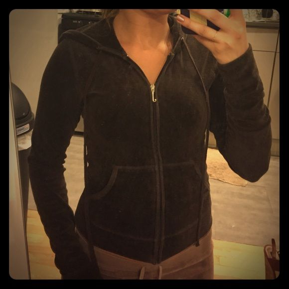 """authentic Juicy Couture dark brown hooded zip up Dark Brown. Size petite which is equal to extra small. Great condition. From original Juicy Couture line. Retailed at $119. Back says """"juicy forever"""" Juicy Couture Tops Sweatshirts & Hoodies"""