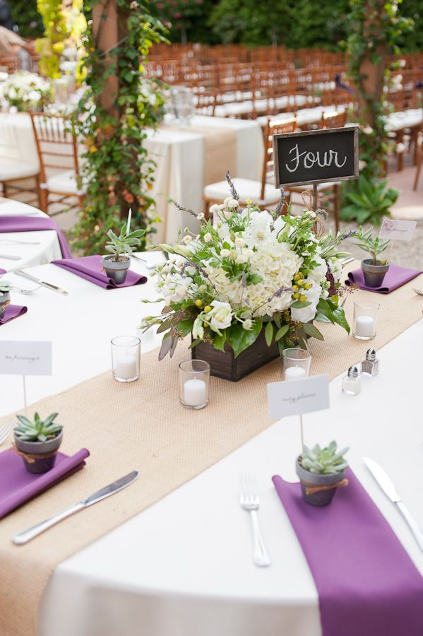 San Juan Capistrano Wedding By Leila Brewster Photography Purple Wedding Tables Wedding Table Settings Flower Centerpieces Wedding