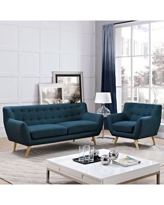 Modway Modway Remark Mid-Century Modern Sofa and Armchair Living Room Furniture with Upholstered Fabric in Azure from Amazon | People images