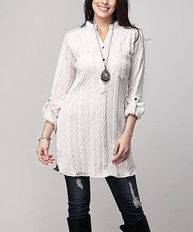 12ef19ab603 Loving this Cream Cable-Knit Notch Neck Roll-Tab Tunic - Plus on  zulily!   zulilyfinds