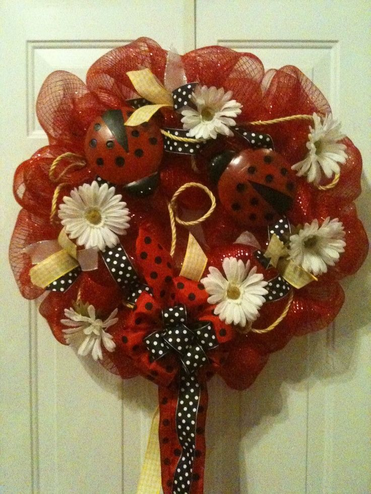 deco mesh wreaths Lady bug poly deco mesh wreath Poly