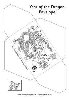 year of the dragon printable money envelope with chinese dragon design