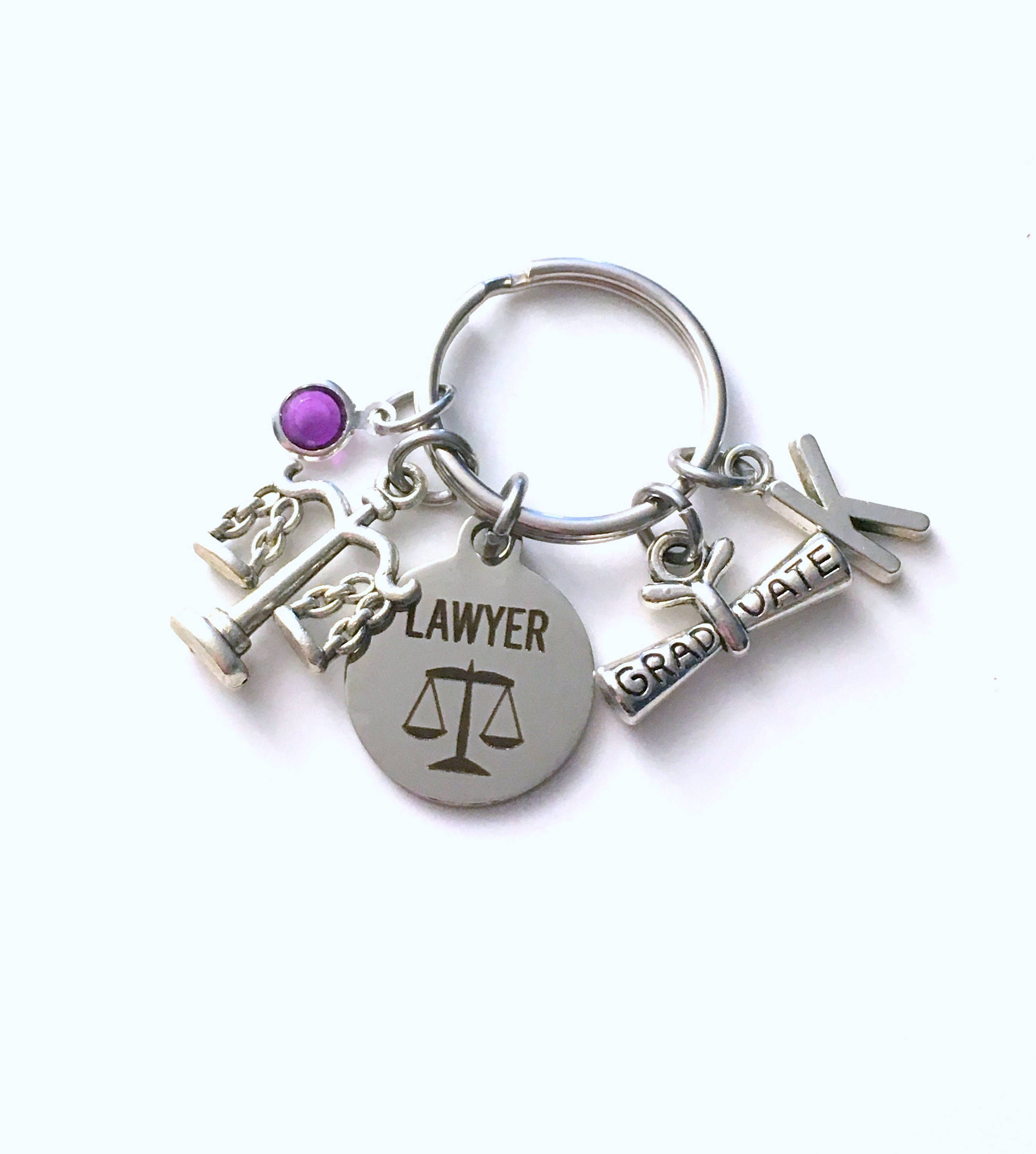 Graduation gift for lawyer keychain law student key chain