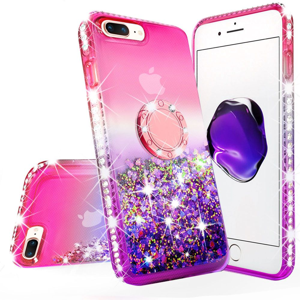 Iphone 8 Plus Iphone 7 Plus Liquid Glitter Phone Case Girls With Kickstand Pink Liquid Glitter Phone Case Phone Cases Protective Ipod Touch 6 Cases