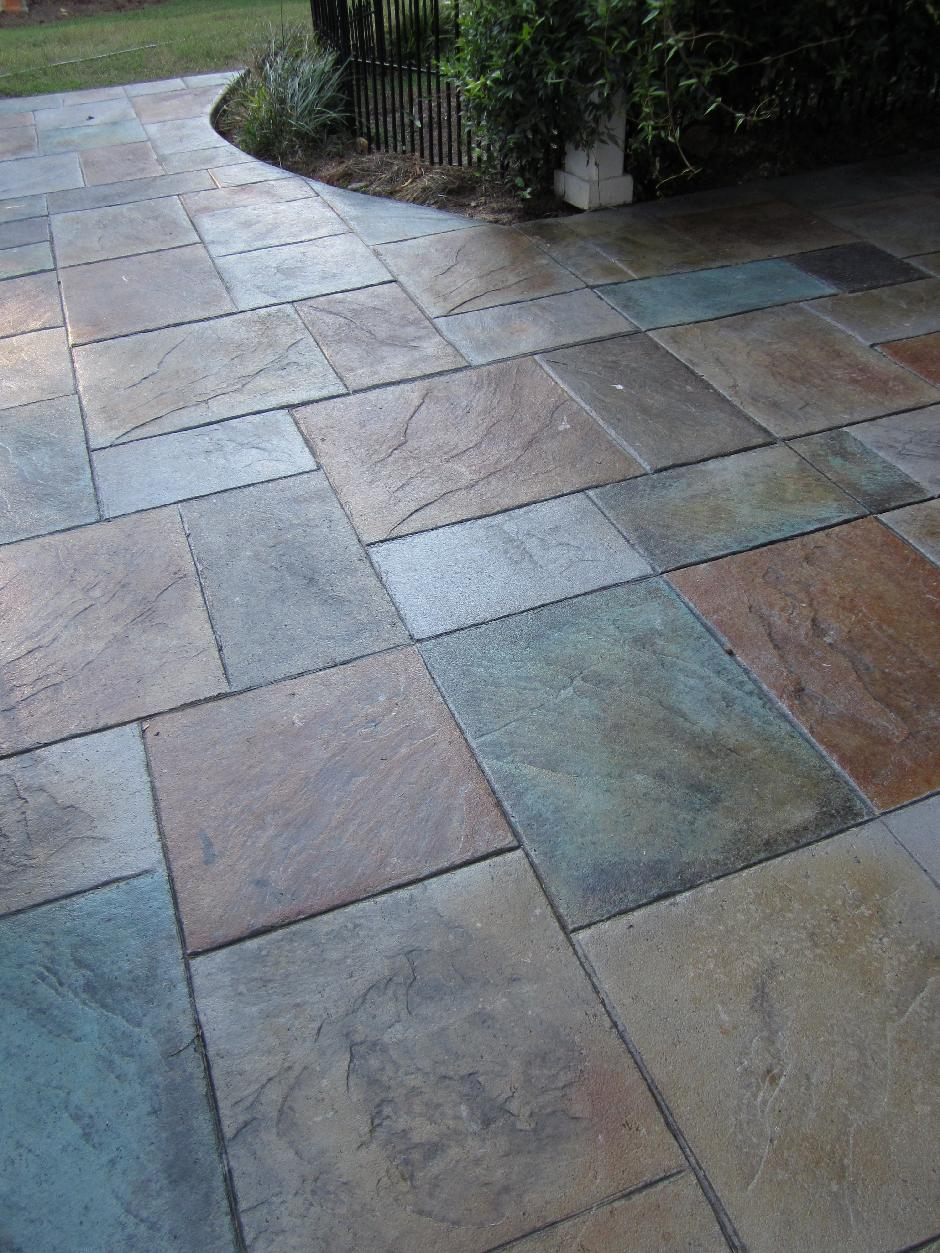 Stamped Concrete Patio Designs | Colored Stamped Concrete Patio With Fire  Pit