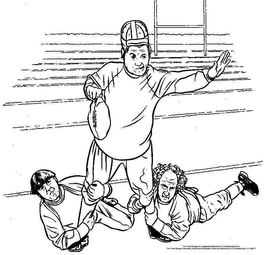 This Three Stooges Football Coloring Page Will Keep Your Little Stooges Busy For A While On Game Day Football Coloring Pages Classic Comedies Cartoon Drawings