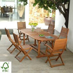 Salon de jardin bois Remmington 1 table 190-230cm + 4 chaises + 2 ...