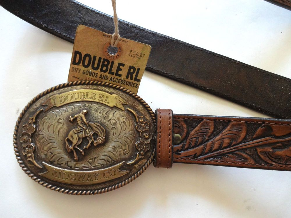 78458f696c9 New Ralph Lauren RRL Vintage Rodeo Buckle Tooled Brown Leather Belt ...