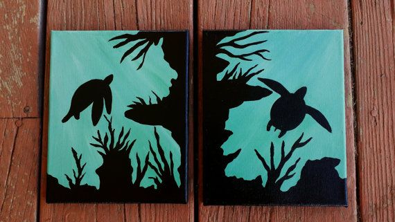 Items Similar To Sea Turtle Acrylic Painting Two Piece Canvas Handpainted Underwater Scene Blue Wall Decor On