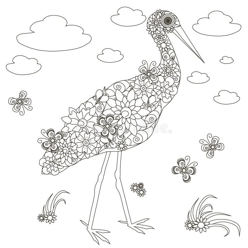 Flowers Stork Coloring Page Anti Stress Stock Vector Illustration Vector Illustration Vector Illustration Coloring Pages Illustration