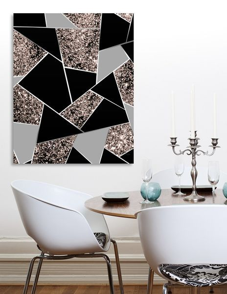 «Rose Gold Geometric Glitter Glam # 1 #geo #decor #art» Leinwanddruck von Anita's & B…