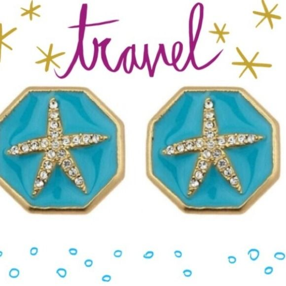 "Starfish Earrings One of our top sellers, our Enamel Starfish Earrings are beachy perfection. Colorful enamel surrounds a gold and crystal starfish inlay. Available in Teal.  3/4"" diameter Stud earring Surgical steel posts Jewelry Earrings"
