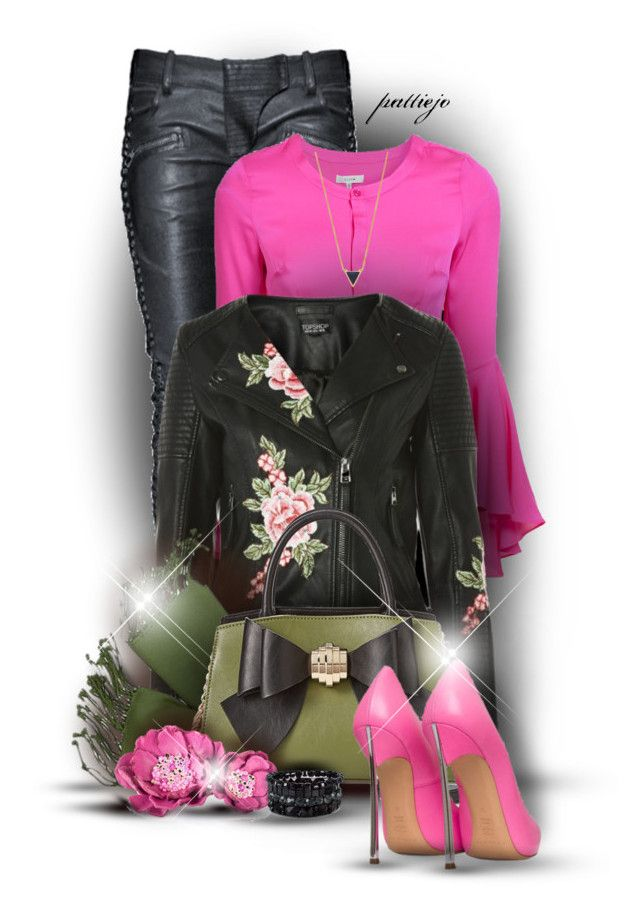 """""""Floral Moto and Leather Pants"""" by rockreborn ❤ liked on Polyvore featuring Balmain, Milly, Topshop, Forzieri, Betsey Johnson, Gorjana, Pieces, polyvorecommunity, polyvoreeditorial and pinkpumps"""