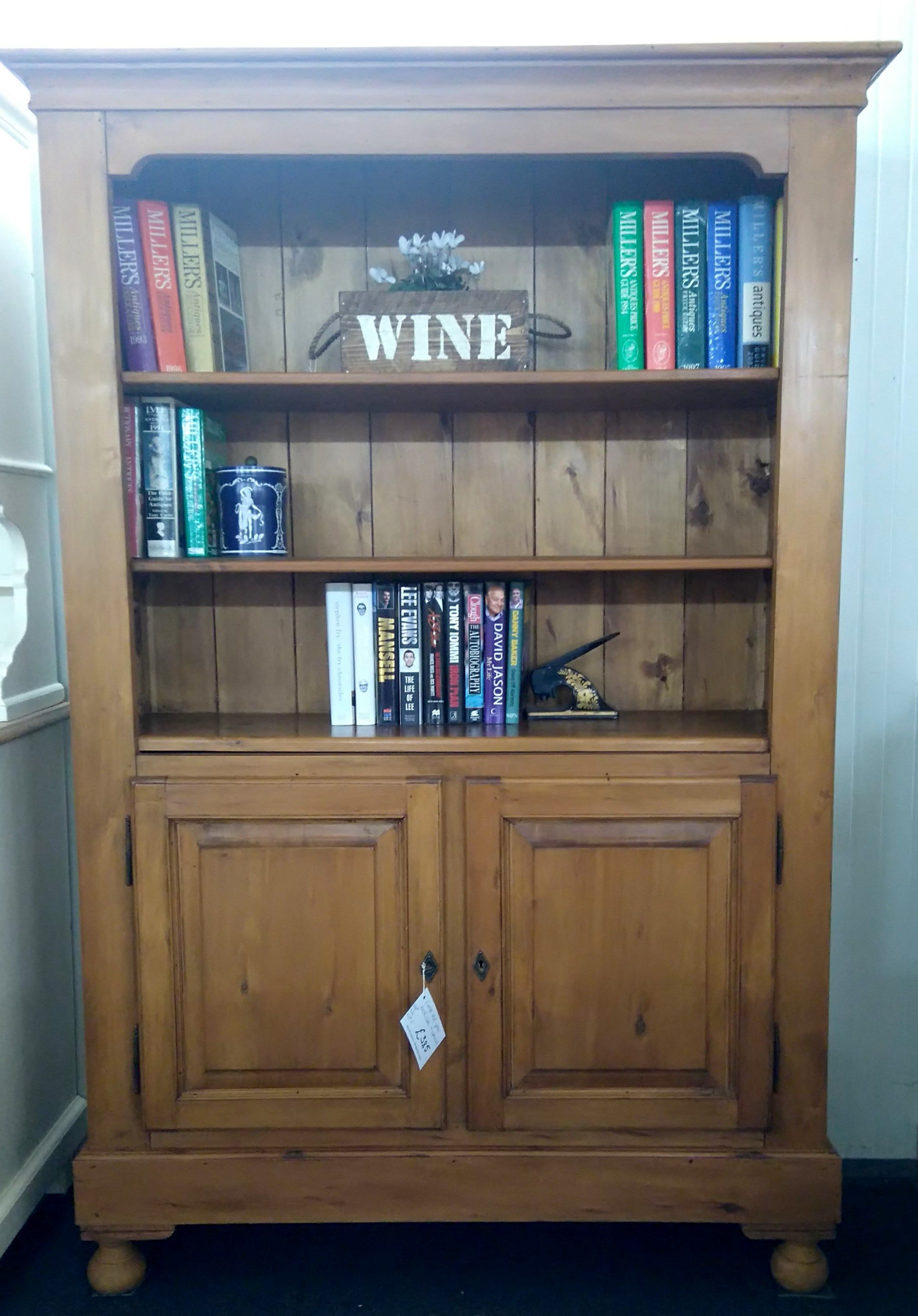 Old Pine Display Dresser With Bookcase Top Over Cupboard Doors Recycled Furniture Bookcase Furniture Showroom