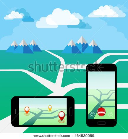 Smart Phone Play a Mobile Game Using Location Information .Vector Illustration