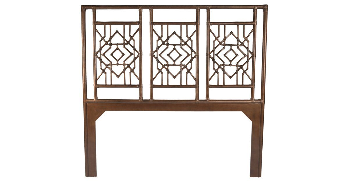 Showcasing spectacular fretwork, this Chinese Chippendale-inspired headboard is finished with a glossy brown lacquer and rawhide wraps. Attaches to any standard headboard.
