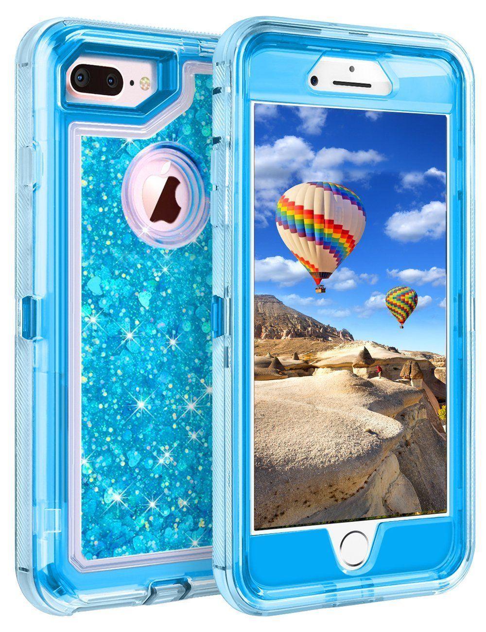 For iphone 8 plus xr xs max 7 glitter liquid defender