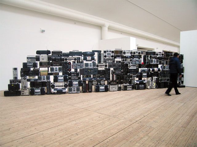Maia Urstad - Sound of Barrier - installation consisting 130 cd and cassette radio assembled as wall http://www.maia.no/