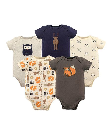 efc3e4e7efb5 Hudson Baby Brown   Orange Fox Bodysuit Set