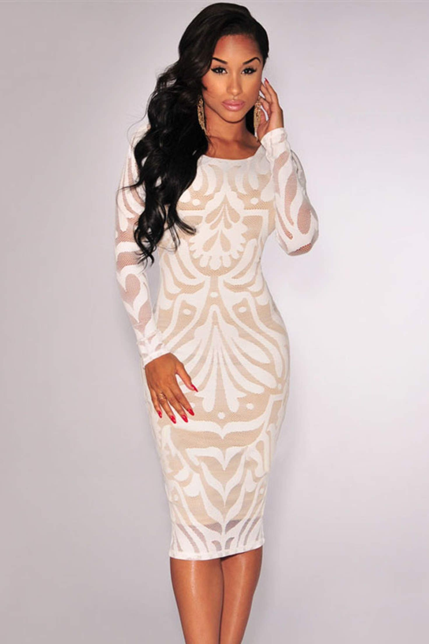 4bc6a356714 White Mesh Nude Long Sleeve Midi Bodycon Dress