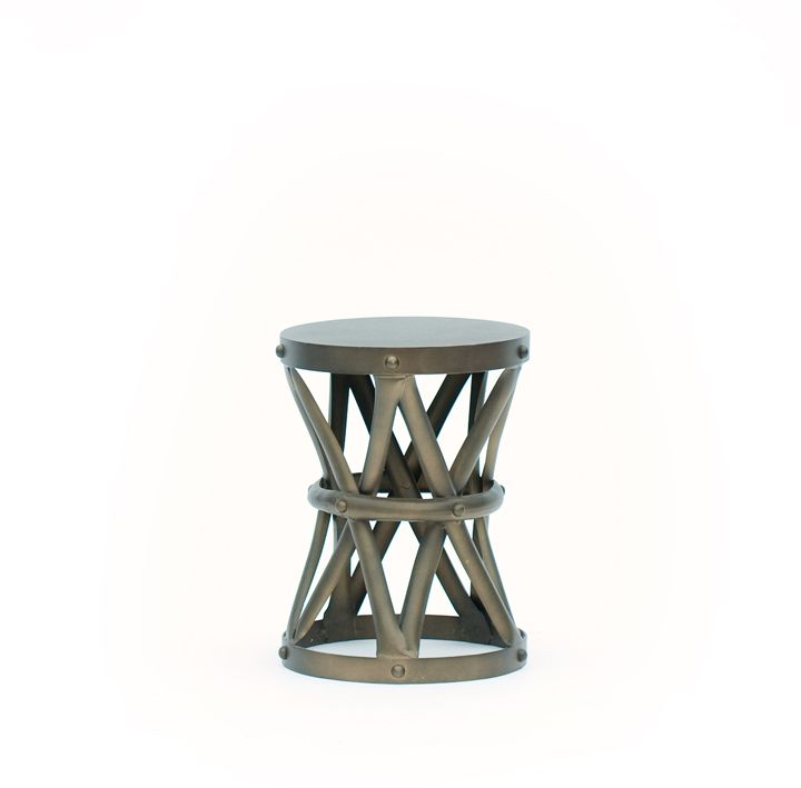 Round Metal End Table Archer Small Round Side Table Made Of Bronze .