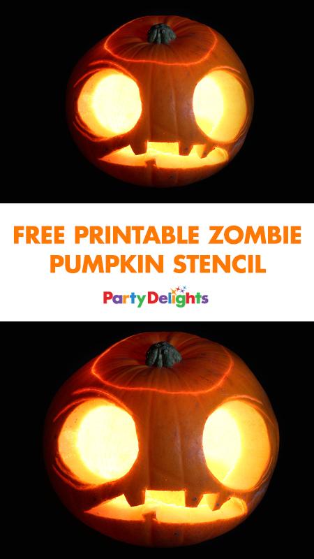 Free zombie pumpkin stencil.