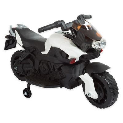 Lil Rider Battery Operated Ride On 2 Wheel Motorcycle With Training Wheels In White Ride On Toys Toddler Bike Riding Motorcycle