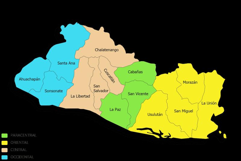 Mapa De El Salvador Con Sus Departamentos El Salvador Departamentos San Salvador