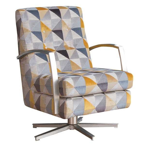 A contemporary chair with a retro pattern. The statement Daxon Swivel Chair is also available in mustard velvet.